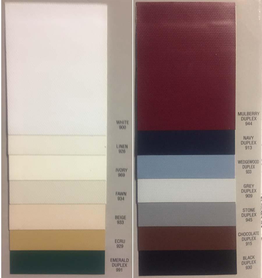 Blackout Shade Color Chart: Budget Fabric