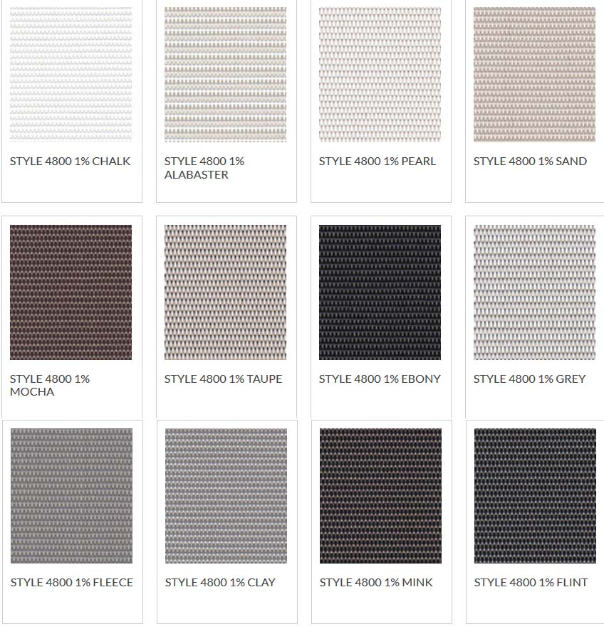 Blackout Shade Color Chart